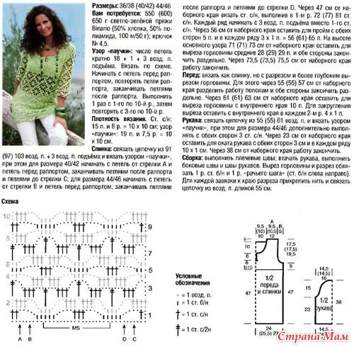 Схема вязания ажурной туники