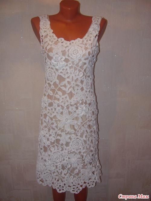 Кружевное вязание крючком платья для