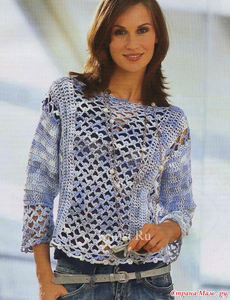 меланжевый свитер женский спицами