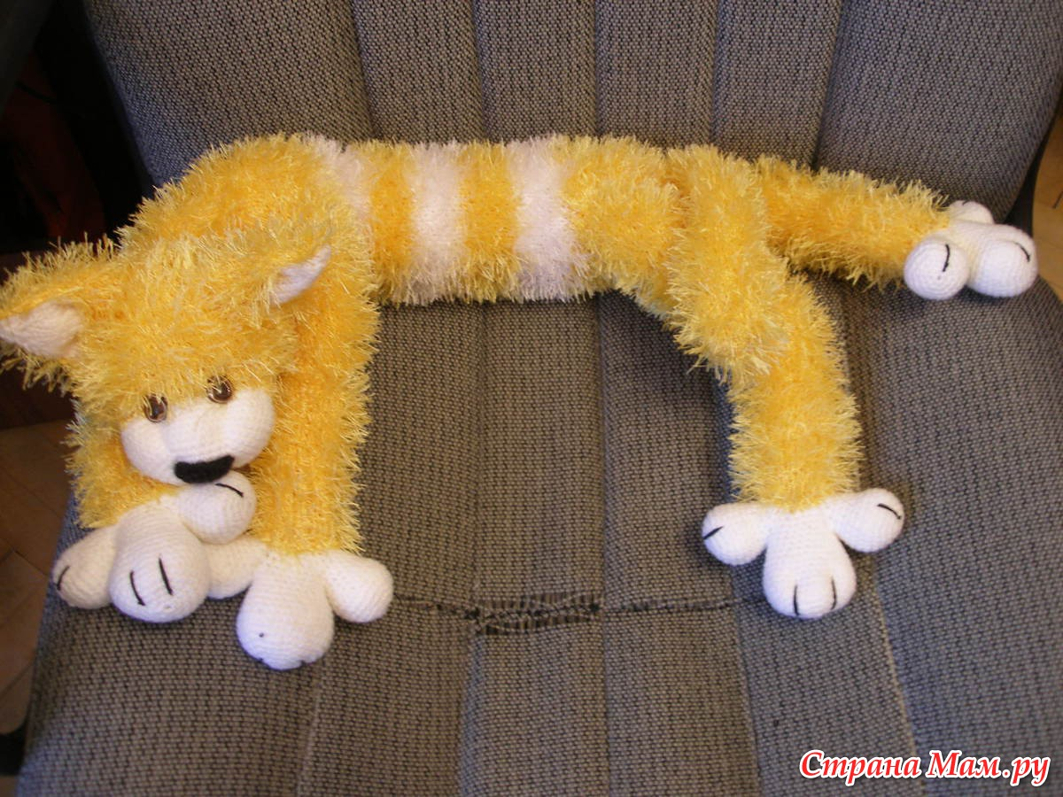 Вязаные игрушки своими руками длинный кот и кошки