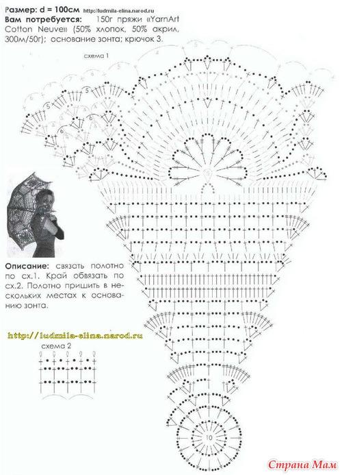 Вязанные зонтики крючком схемы