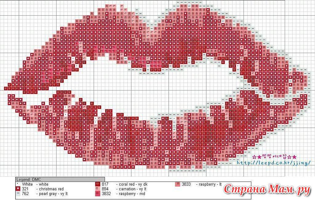 Вышивка крестиком губ схема