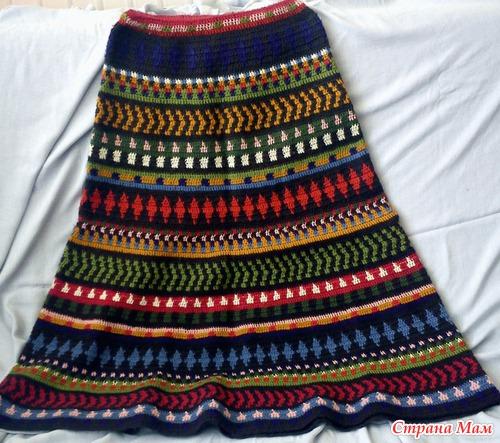 Жаккардовые юбки крючком