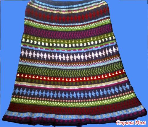 Жаккардовое вязание крючком юбки