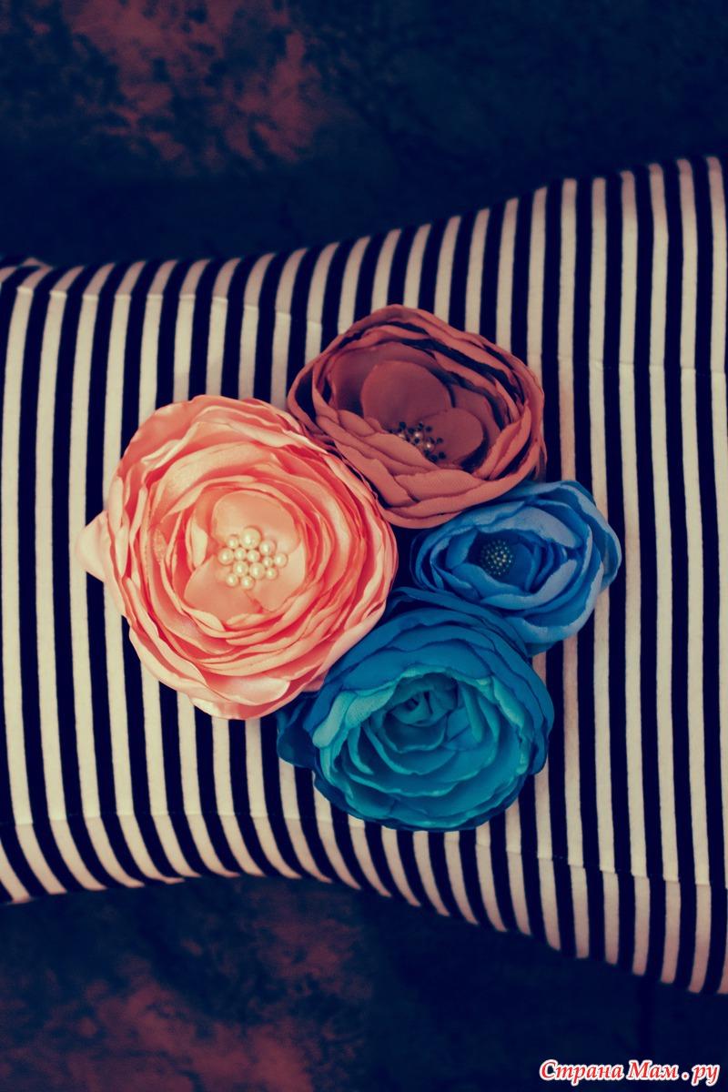 Цветы из ткани с бульками
