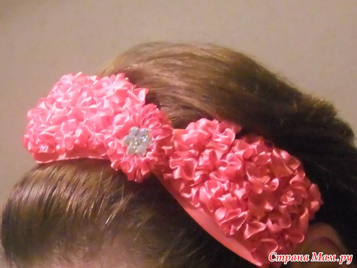 Резинки для волос из лентоОбодок из атласной