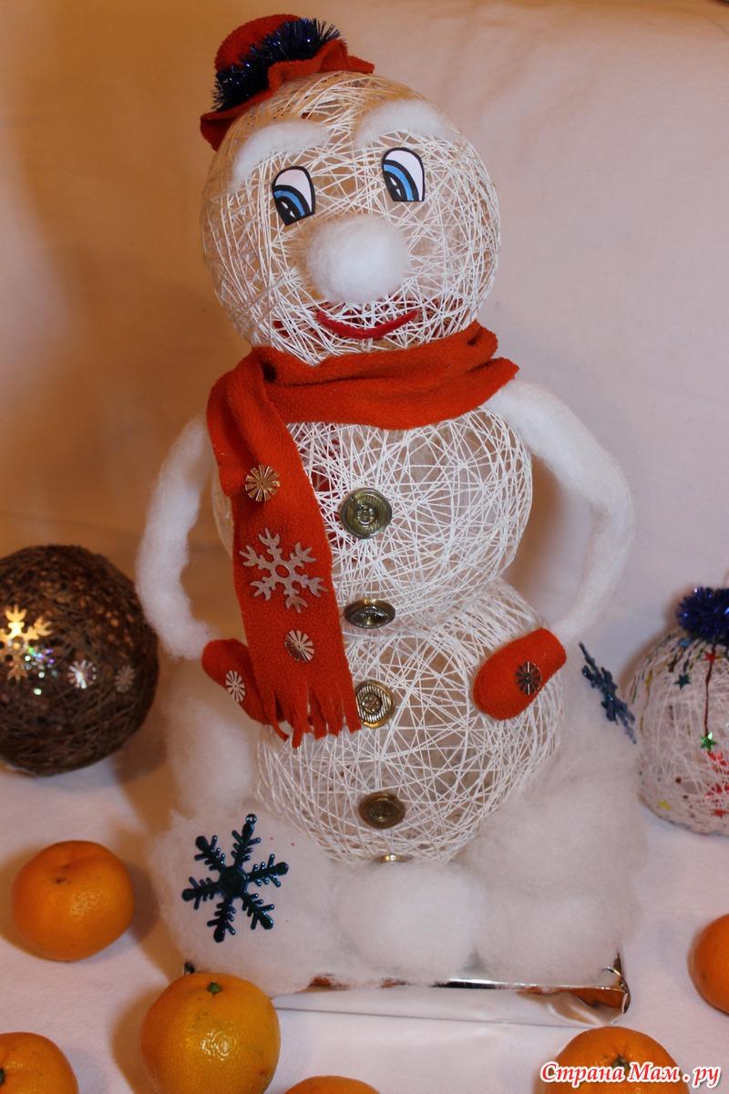 Как сделать снеговика своими руками из ниток