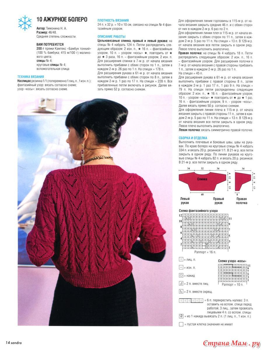 Вязание ажурных болеро спицами для женщин