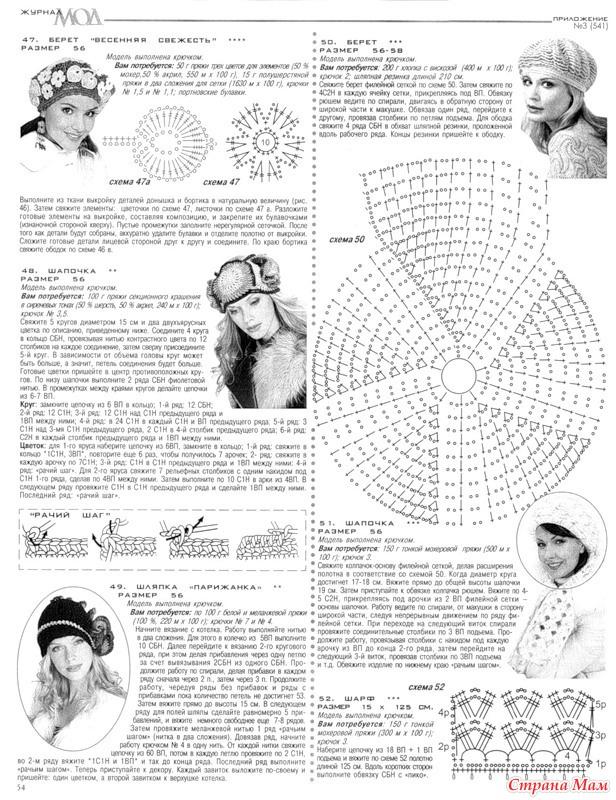 Вязание шапочек со схемами для женщин