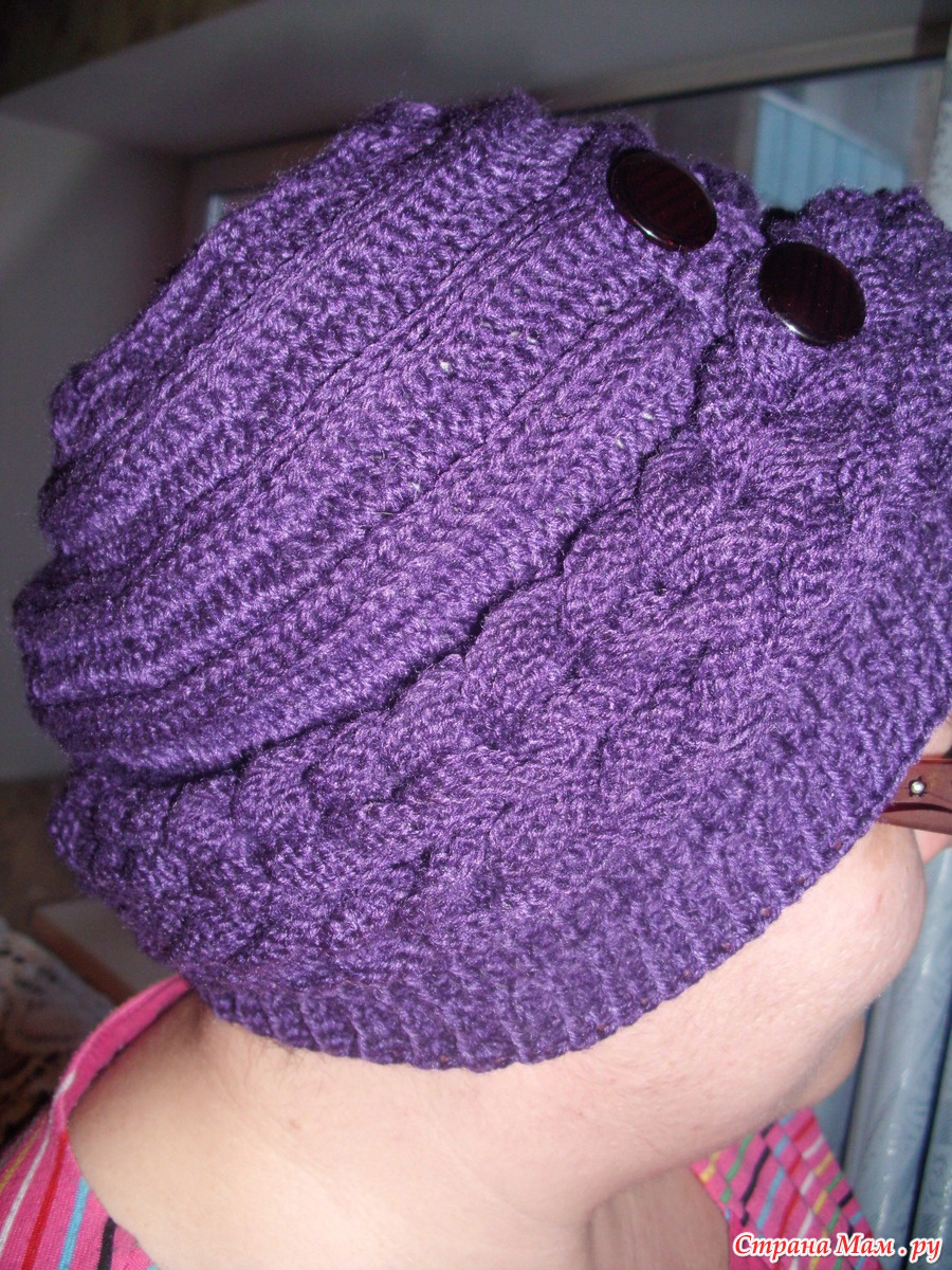 Шапка с косами поперечным вязанием