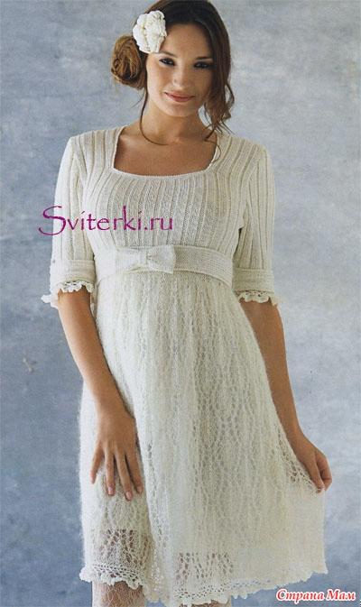 Платье спицами талии