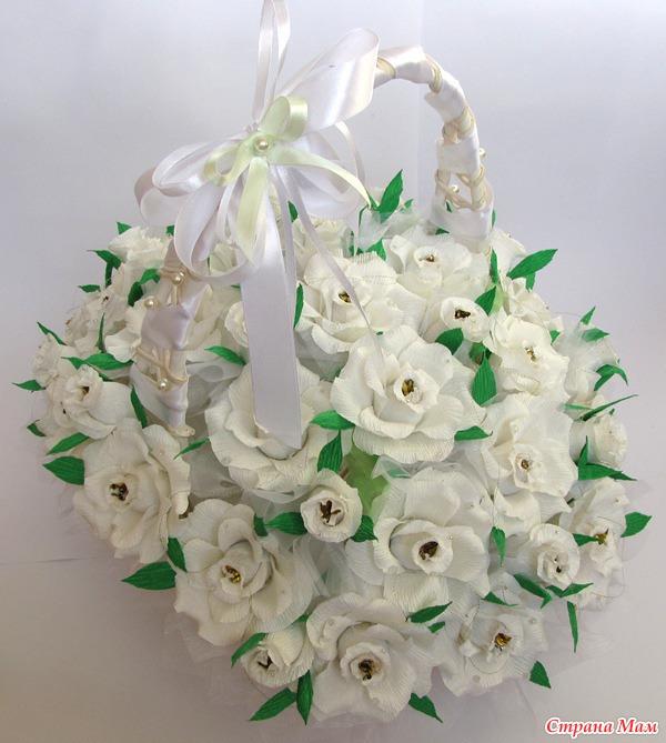 Белый букет роз из конфет: фотография в альбоме Мои работы - Страна Мам