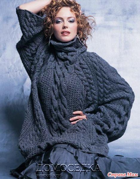 Длинный объемный свитер связан