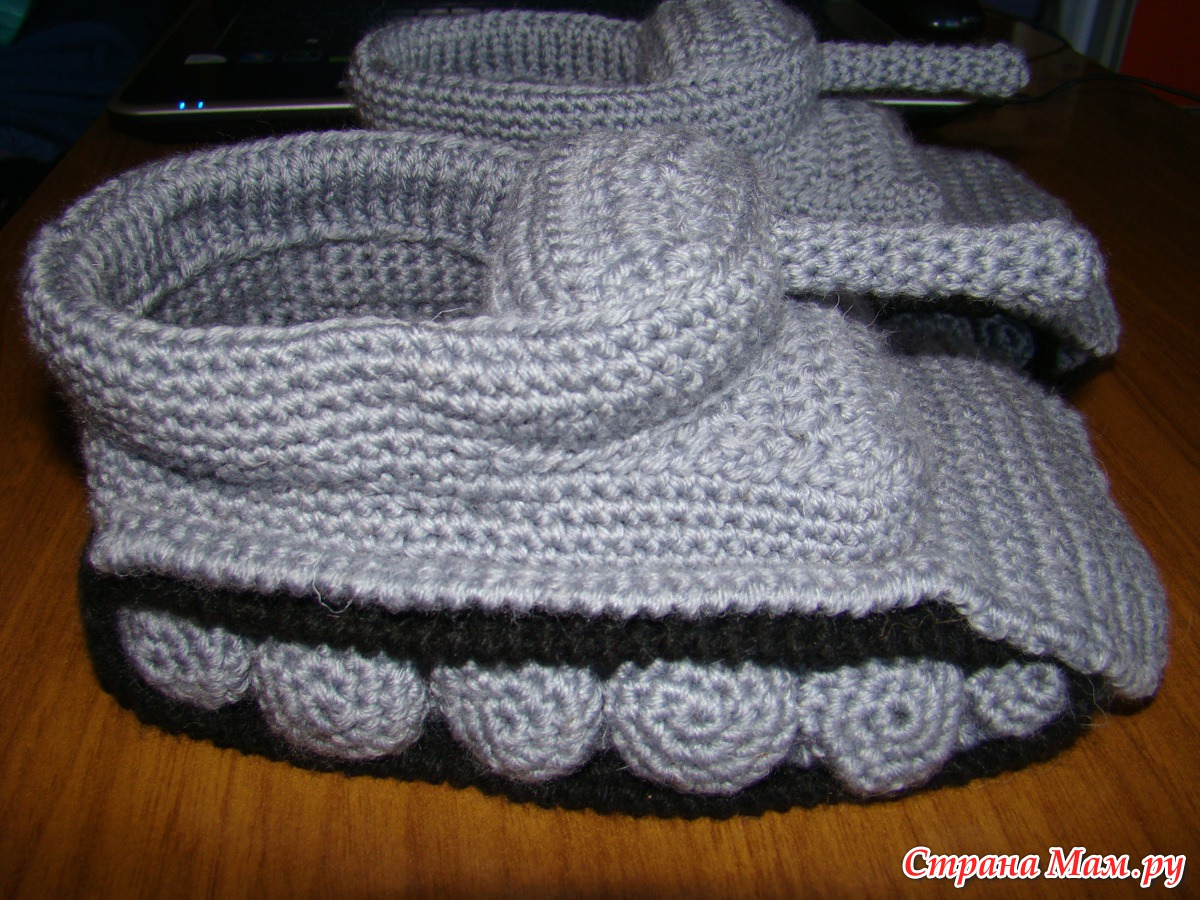 схемы вязания тапок танки
