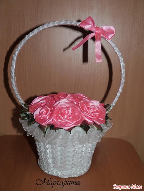 А вот и моя корзина с цветами - Канзаши - Страна Мам