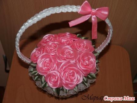 Цветы в корзинке своими руками из лент