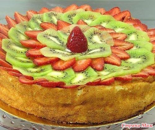 украсить дома торт фруктами фото