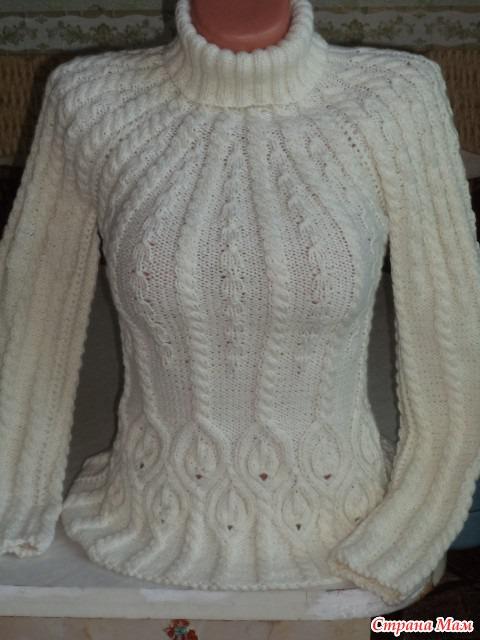 Белый свитер с косами спицами схема