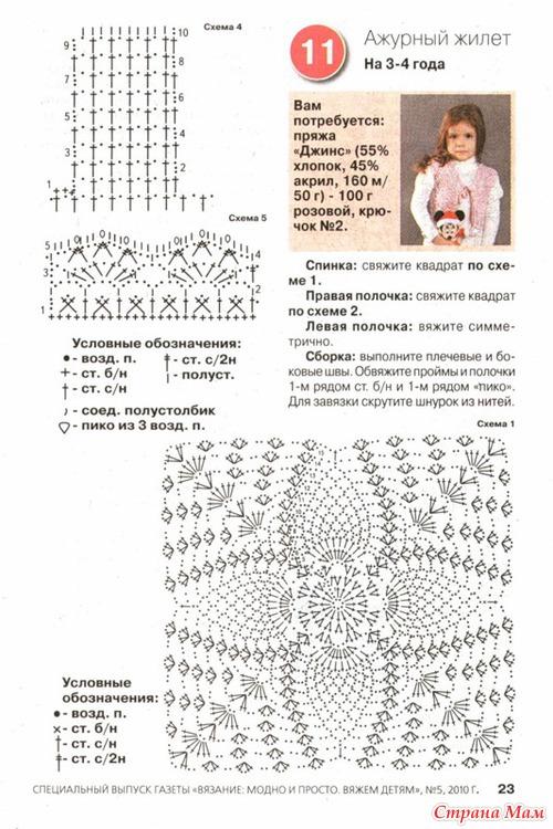 Вязание спицами жилета для девочки до 3 лет 895