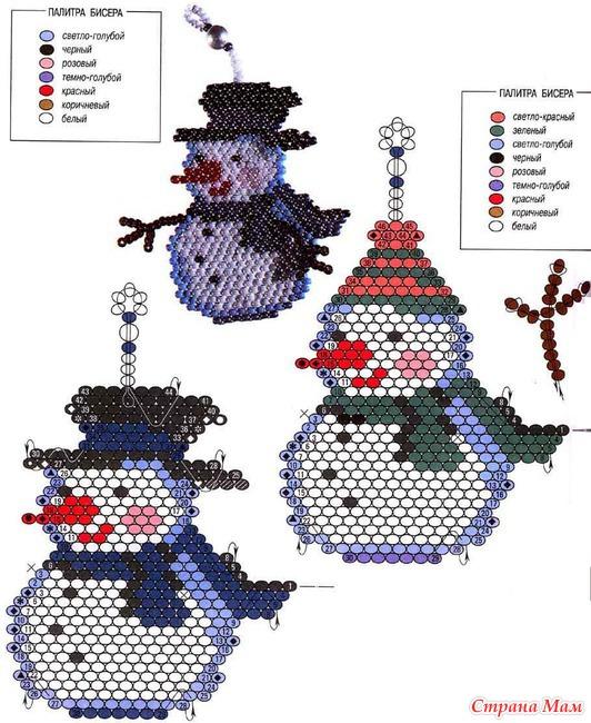 Снеговик - всё о бисере и