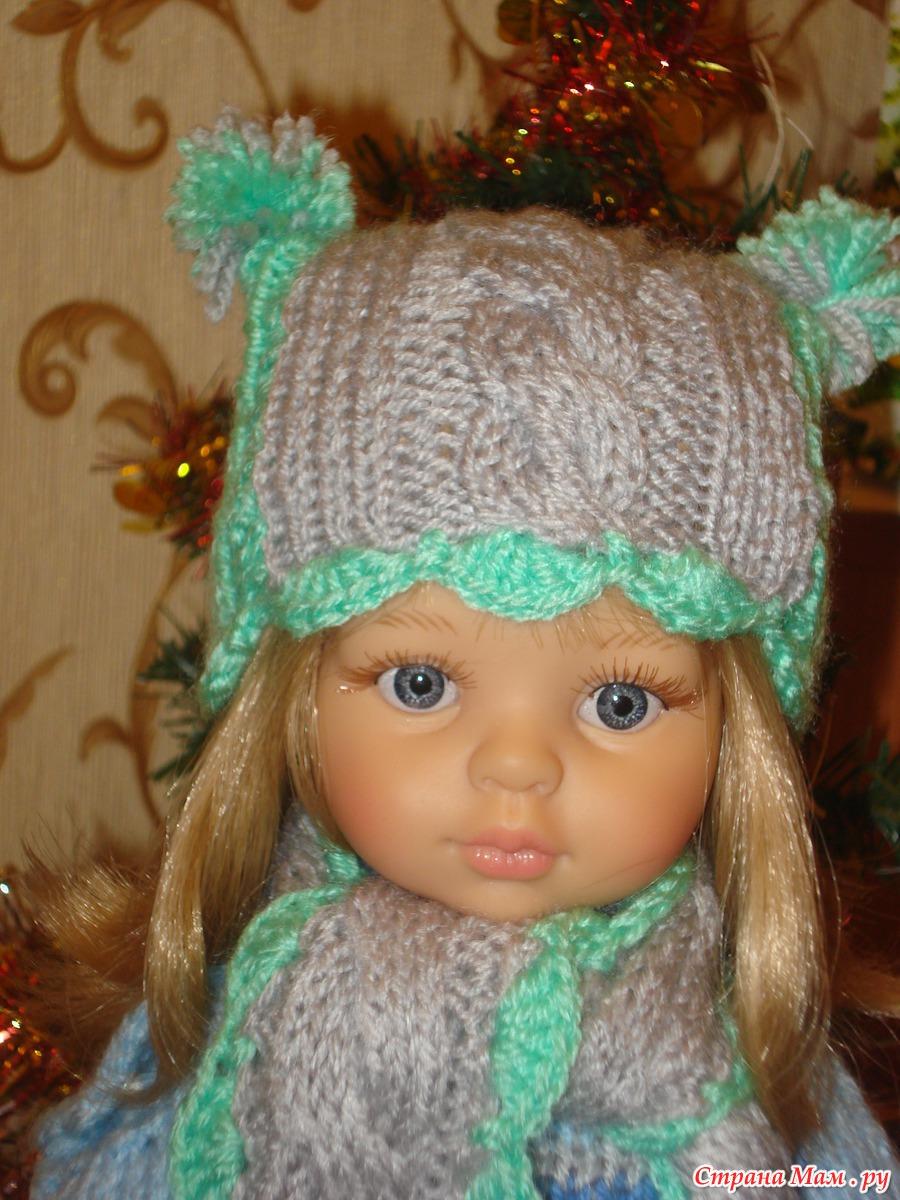 Вязание спицами шапку для куклы