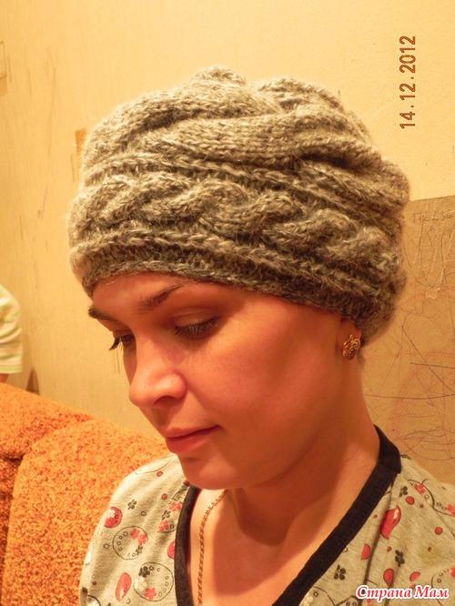 Вязание шапки-поперечные косы