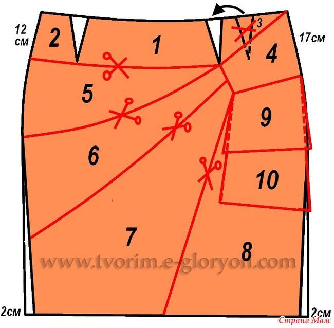 выкройка пояса для прямой юбки: