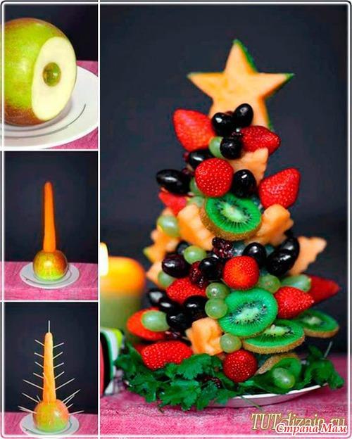 Как сделать елочки из овощей и фруктов