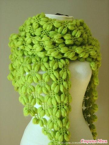Шаль объемным узором - Вязание