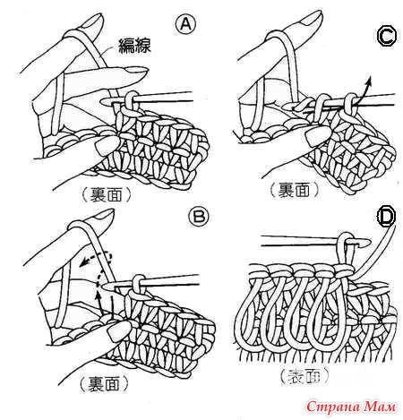 Схема вязания крючком мочалки
