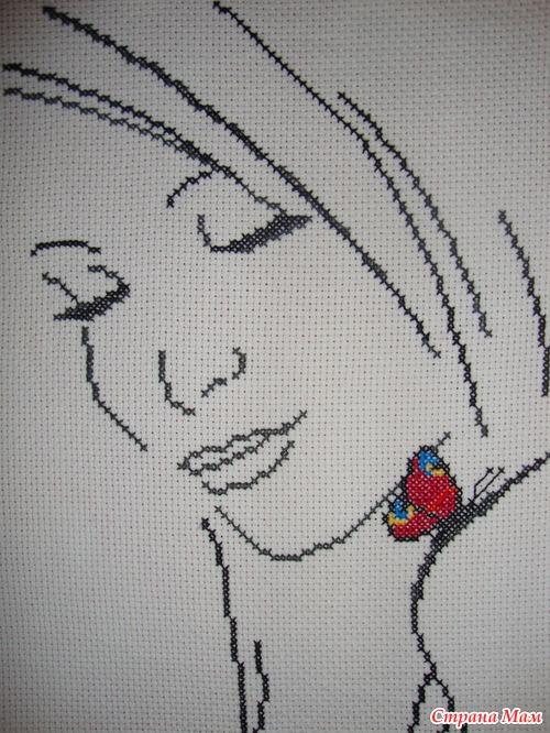 Вышивка крестом девушки лица