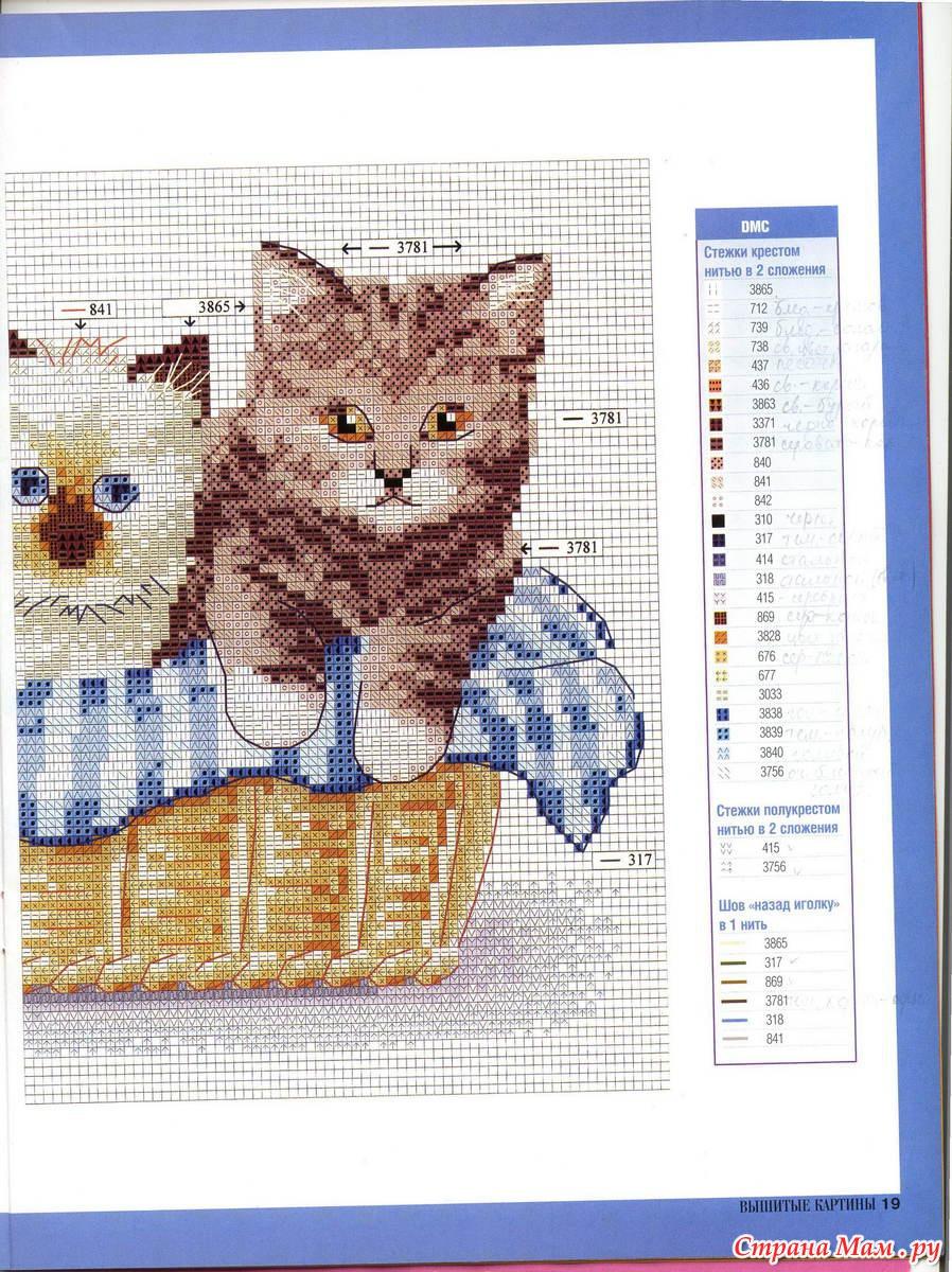 Схема вышивки крестом котик в корзинке