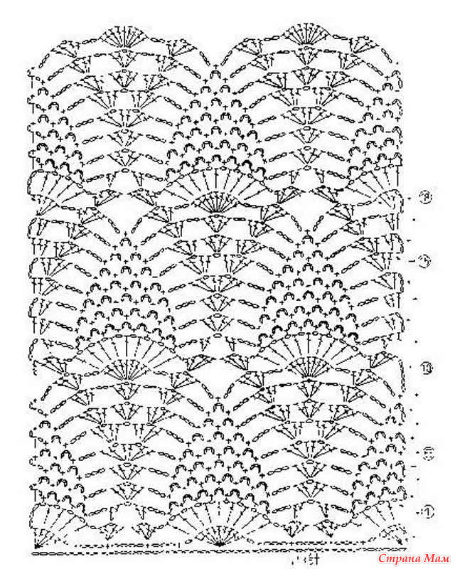 схема вязания узора ананас крючком