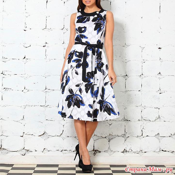Платье Синее С Белыми Цветами С Доставкой