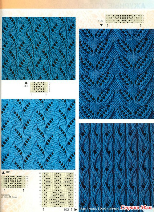 Ажурное вертикальное вязание спицами 335
