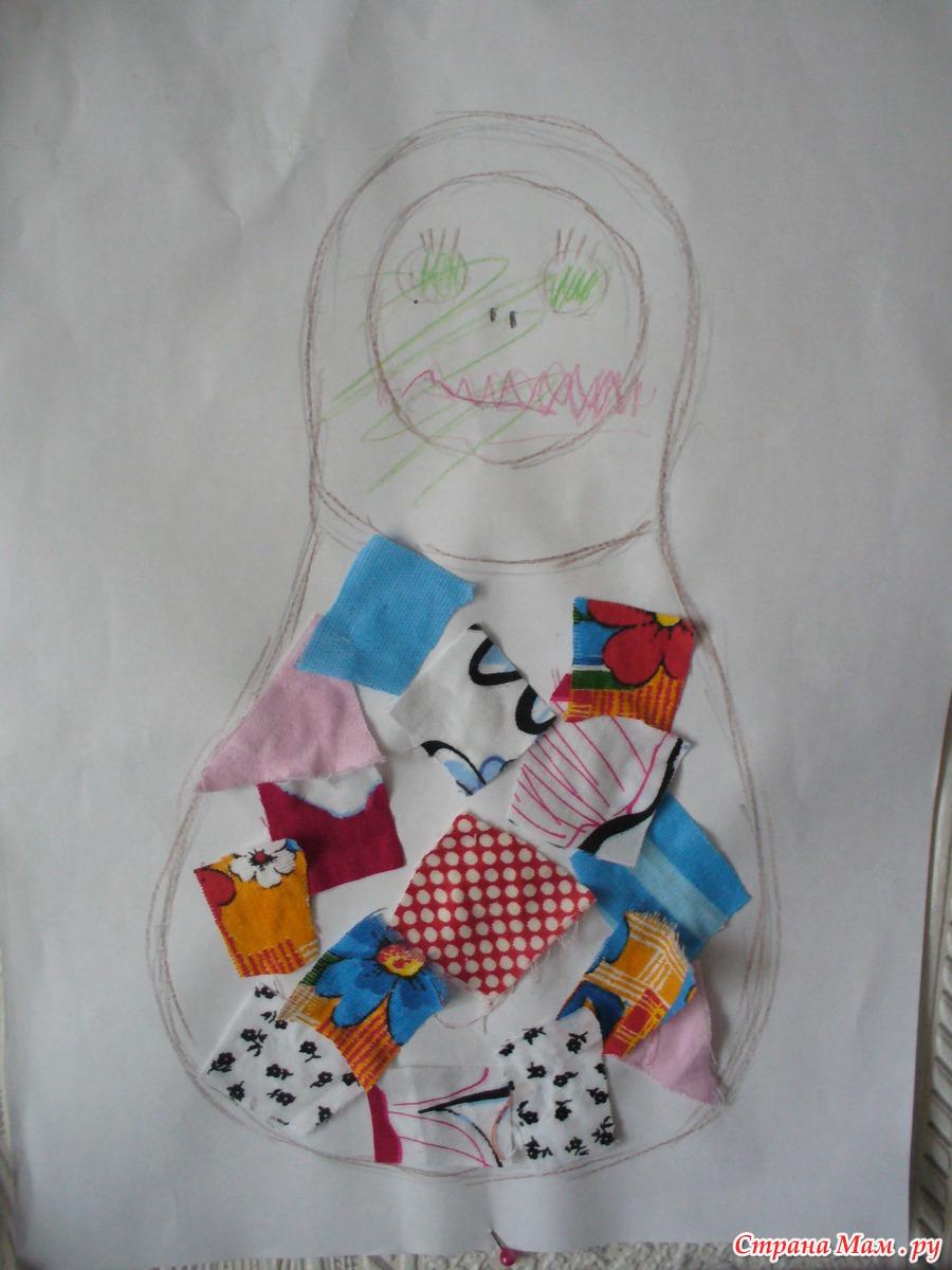 аппликация из ткани Матрешкино платье: фотография в альбоме Детское творчество - Страна Мам