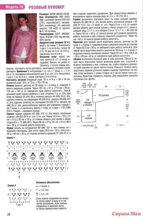 Схема вязания мохерового свитера спицами