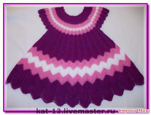 Вязание крючком платье для девочки 2 года с описанием