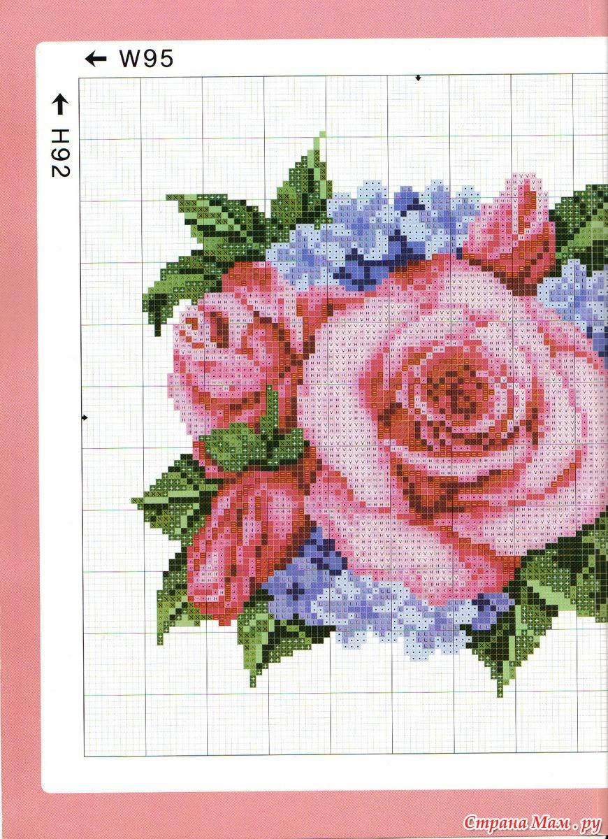 Схема вышивки одна крупная роза