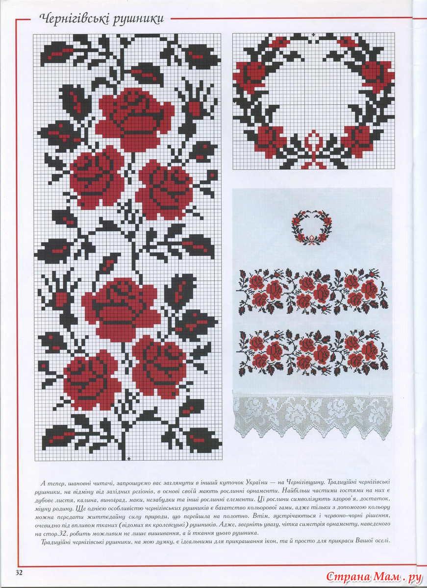Схема вышивки крестиком на вышиванку