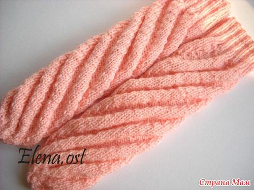 Вязание носков с спиралью 228