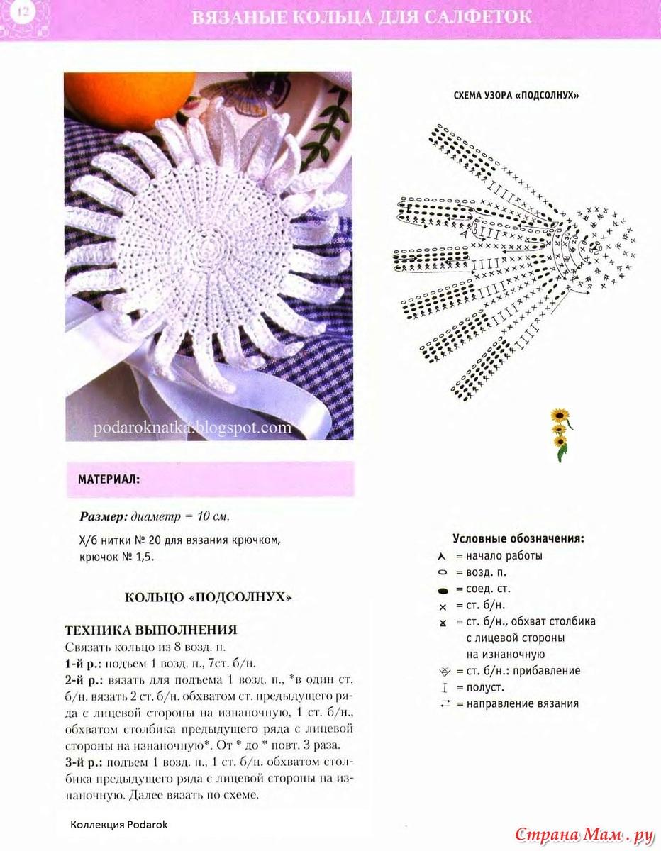Салфетка вязанная крючком схемы подсолнухи