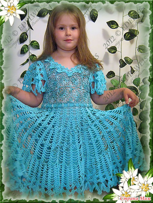 Вязанные нарядные платья для девочек