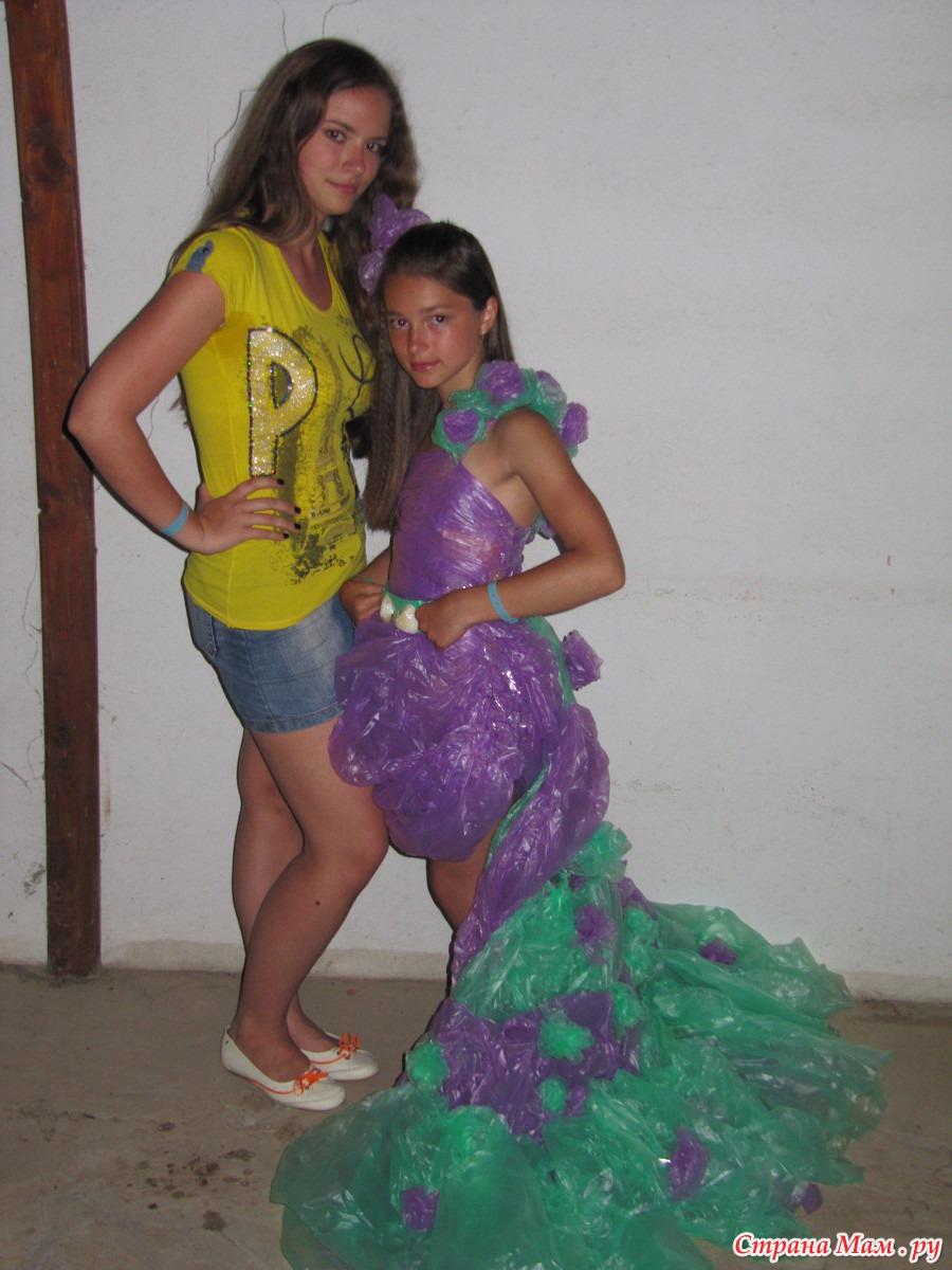 Платья из пакетов для девочек своими руками