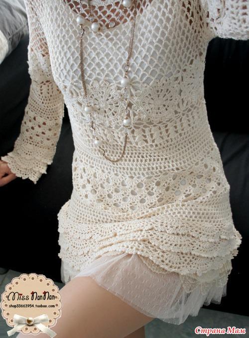 *Короткое платье крючком.