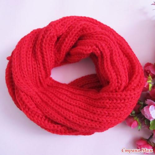 Вязанная шарф круглый спицами