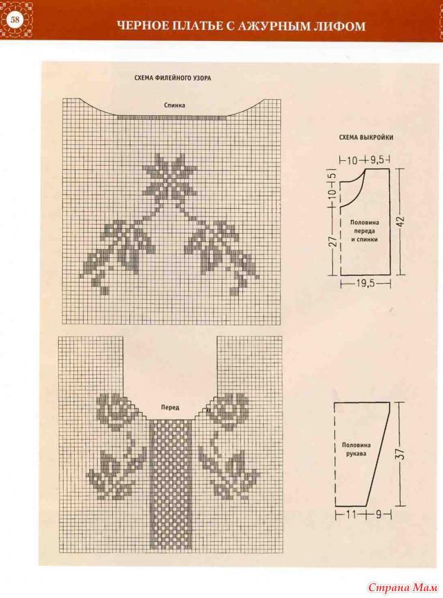 Реглан филейное вязание крючком 11