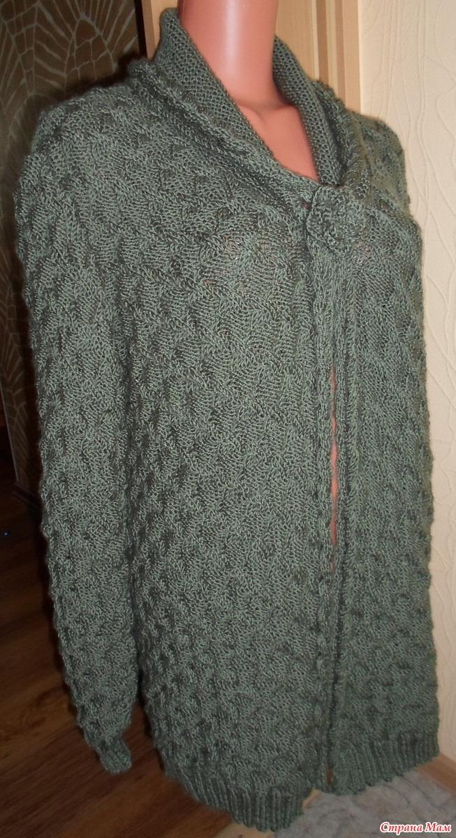 Вязание большими спицами кардигана 92