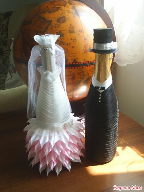 Шампанское своими руками из атласных лент