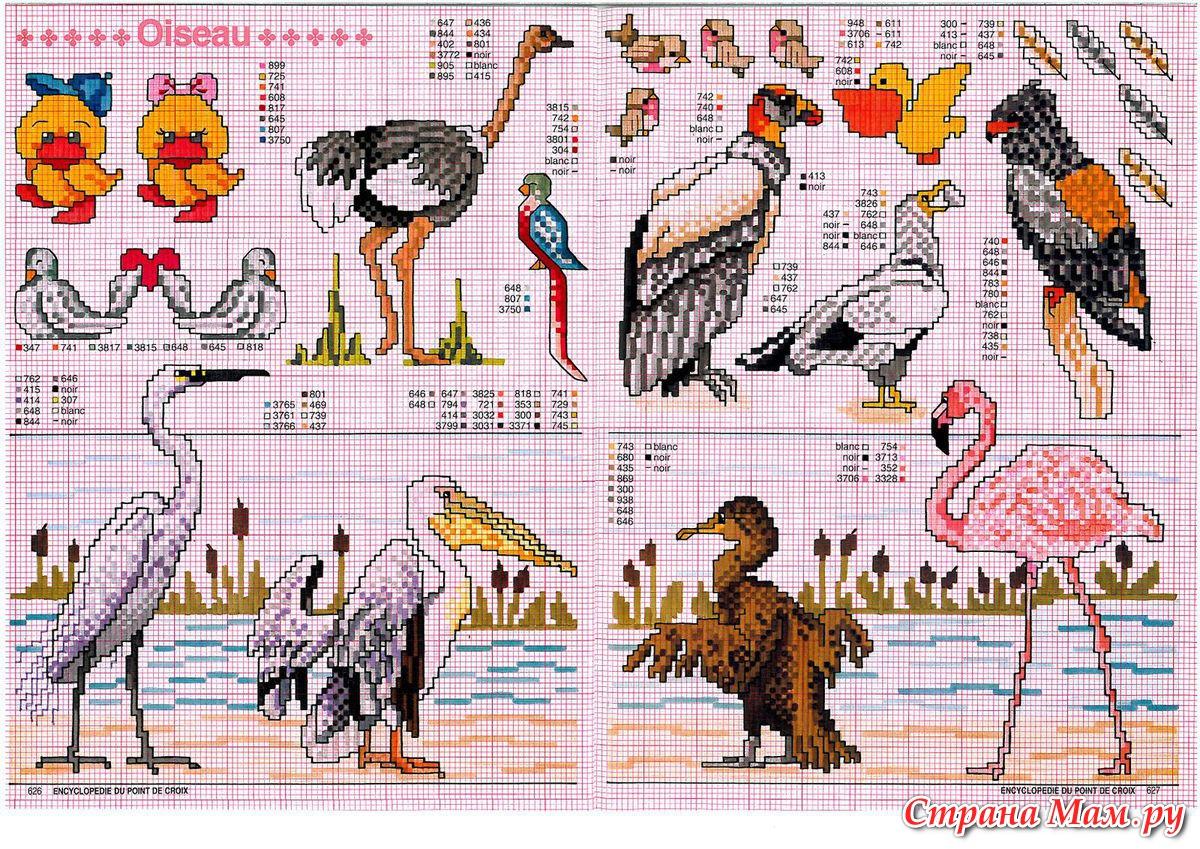 Вышивка крестом миниатюры птицы схемы